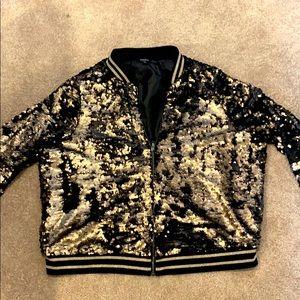 Torrid Gold/Black sequins bomber jacket